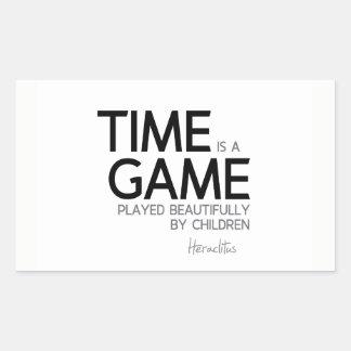 Pegatina Rectangular CITAS: Heraclitus: El tiempo es un juego