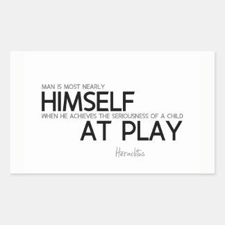 Pegatina Rectangular CITAS: Heraclitus: Niño en el juego