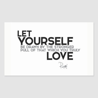 Pegatina Rectangular CITAS: Rumi: Usted ama verdad