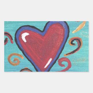 Pegatina Rectangular Colección roja de los corazones