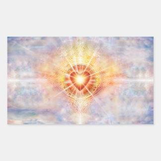 Pegatina Rectangular Corazón celestial H038