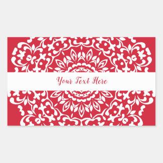 Pegatina Rectangular Cordón con clase elegante blanco rojo