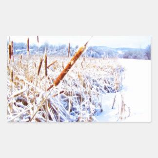 Pegatina Rectangular Corndog en la nieve
