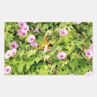 Pegatina Rectangular Correhuelas rosadas Bush