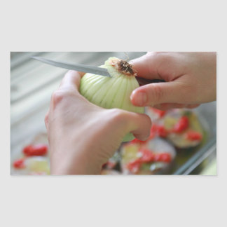 Pegatina Rectangular Cortar una cebolla