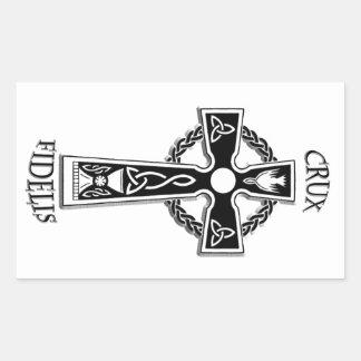 Pegatina Rectangular Cruz céltica