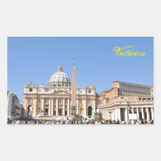 Pegatina Rectangular Cuadrado de San Pedro en Vatican, Roma, Italia