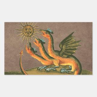 Pegatina Rectangular Cuero de los dragones de la alquimia de Clavis