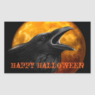 Pegatina Rectangular Cuervo y luna espeluznantes de Halloween