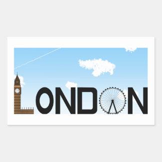 Pegatina Rectangular D3ia del horizonte de Londres