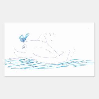 Pegatina rectangular de la ballena de Wally