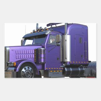 Pegatina Rectangular De la púrpura camión metálico del tractor remolque
