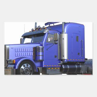 Pegatina Rectangular Del azul camión metálico del tractor remolque semi