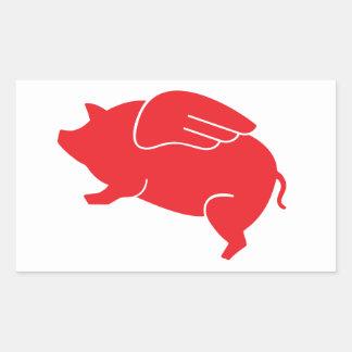 Pegatina Rectangular 🐷 del cerdo del vuelo