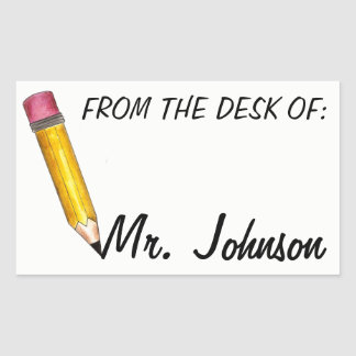 Pegatina Rectangular Del escritorio del profesor de escuela