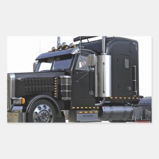 Pegatina Rectangular Del negro camión del tractor remolque semi