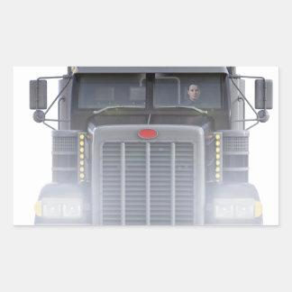 Pegatina Rectangular Del negro camión del tractor remolque semi con las