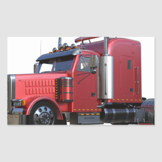 Pegatina Rectangular Del rojo camión metálico de Traler del tractor