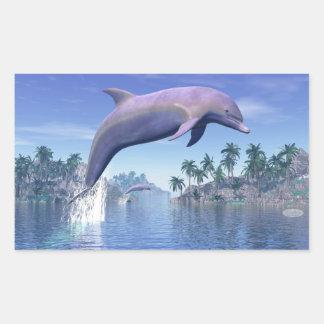 Pegatina Rectangular Delfín en las zonas tropicales - 3D rinden