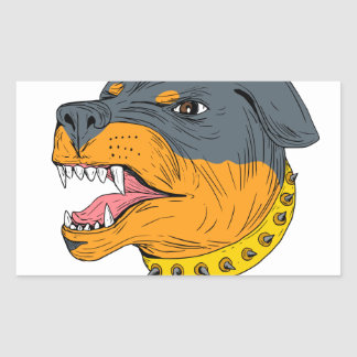 Pegatina Rectangular Dibujo agresivo de la cabeza de perro guardián de