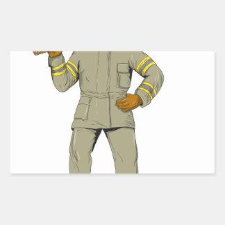 Pegatina Rectangular Dibujo americano del hacha del fuego del bombero