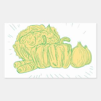 Pegatina Rectangular Dibujo de la cebolla del pimiento de Brocolli