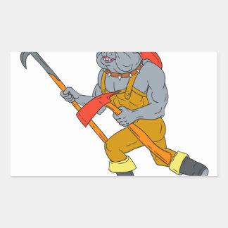 Pegatina Rectangular Dibujo del hacha del fuego de Pike poste del