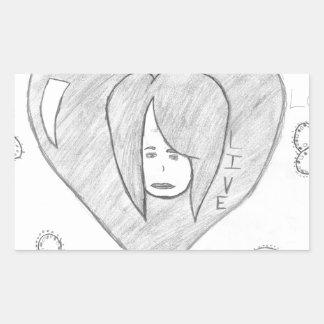 Pegatina Rectangular Dibujo vivo del amor de la paz de los ángeles