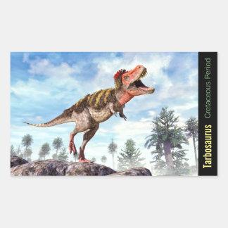 Pegatina Rectangular Dinosaurio de Theropod cretáceo de Tarbosaurus
