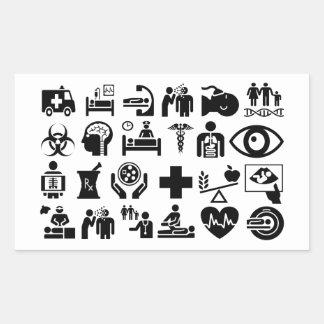Pegatina Rectangular Diseño blanco y negro intrépido de los iconos