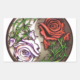 Pegatina Rectangular Diseño color de rosa del tatuaje del yingyang