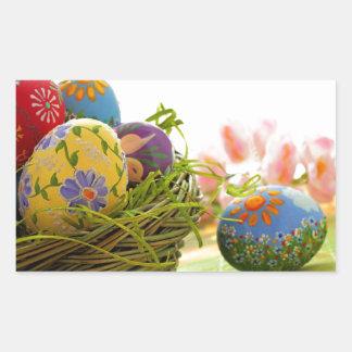 Pegatina Rectangular Diseño feliz de Pascua