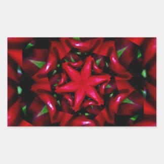 Pegatina Rectangular diseño verde y rojo de la flor del kaleido
