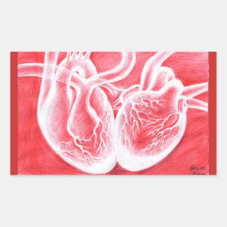 Pegatina Rectangular dos corazones que baten junto