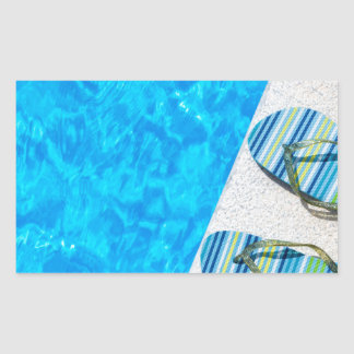 Pegatina Rectangular Dos deslizadores de baño en el borde de la piscina