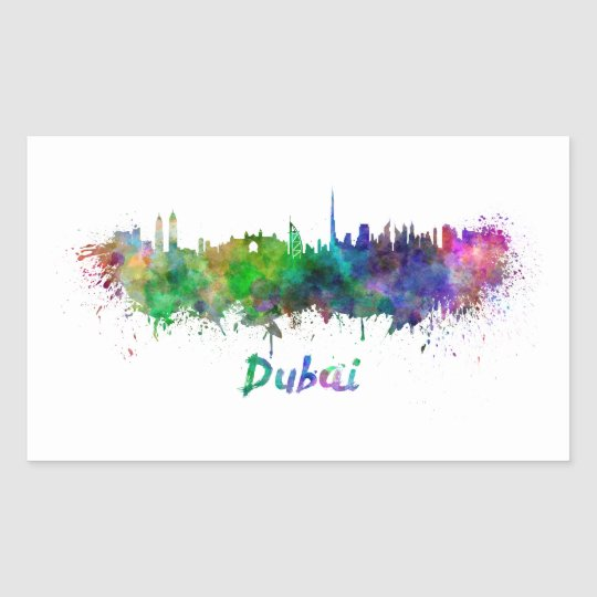 Pegatina Rectangular Dubai skyline in watercolor