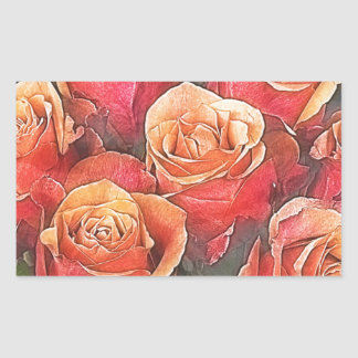 Pegatina Rectangular Ejemplo de los rosas rojos