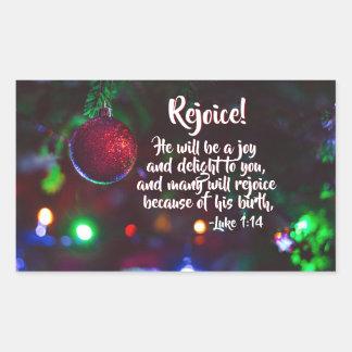 Pegatina Rectangular ¡El 1:14 de Lucas disfruta! Él será una alegría,