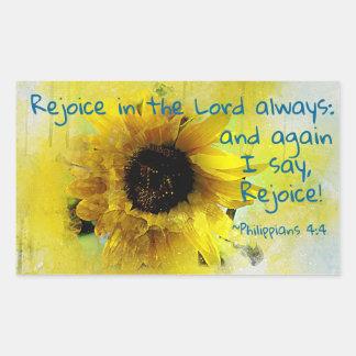 Pegatina Rectangular ¡El 4:4 de los filipenses disfruta en el señor