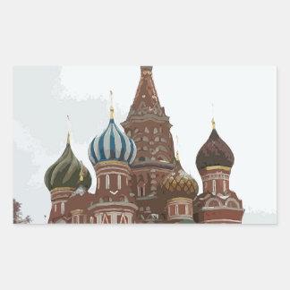 Pegatina Rectangular El cathedral_russo de la albahaca del santo