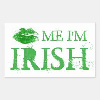Pegatina Rectangular El día de St Patrick me besa que soy labios verdes