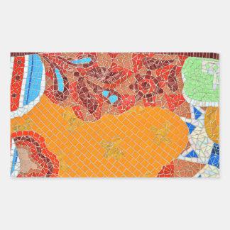 Pegatina Rectangular el faience de las tejas de mosaico roto junta las