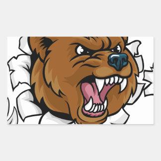 Pegatina Rectangular El fondo enojado de la mascota del oso agarra