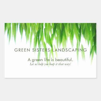 Pegatina Rectangular El verde deja a tierra diseño amistoso