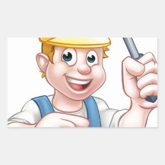 Pegatina Rectangular Electricista del dibujo animado que sostiene el