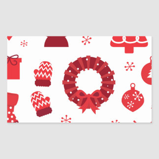 Pegatina Rectangular Elementos de Navidad que sorprenden rojos