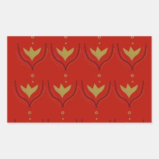 Pegatina Rectangular Elementos del diseño del oro en marrón
