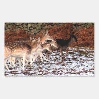 Pegatina Rectangular En sus marcas (ciervos)