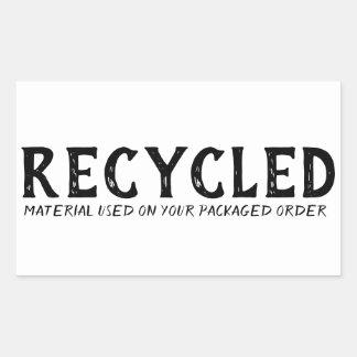 Pegatina Rectangular Envío usado material reciclado de Repurpose