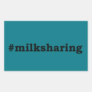 Pegatina Rectangular escritura negra #milksharing